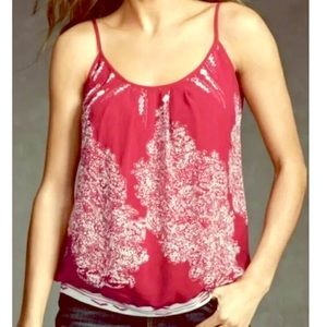CAbi Red Print Heart of CAbi Township Cami